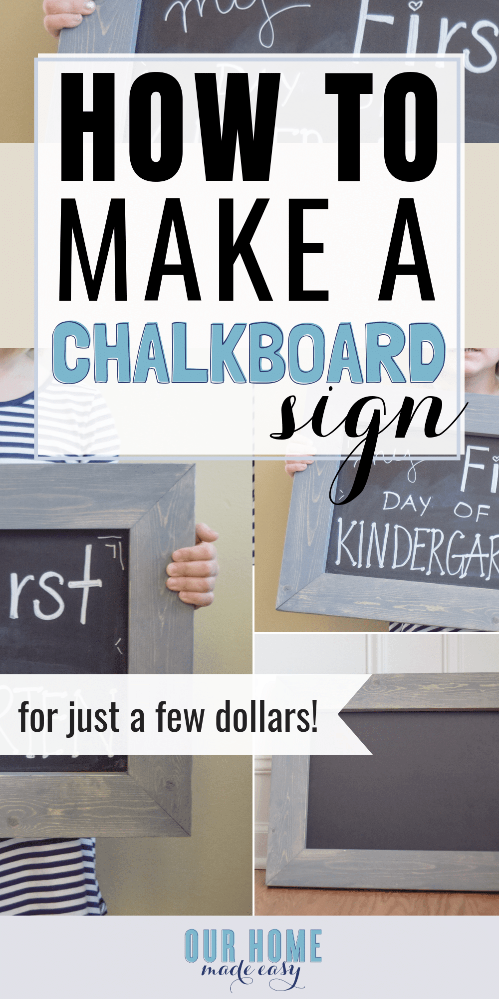 Make this easy DIY Chalkboard sign for less than $10! Customize the size and stain to coordinate with your home's decor. Click for step by step directions! #chalkboard #farmhouse #signs #chalk