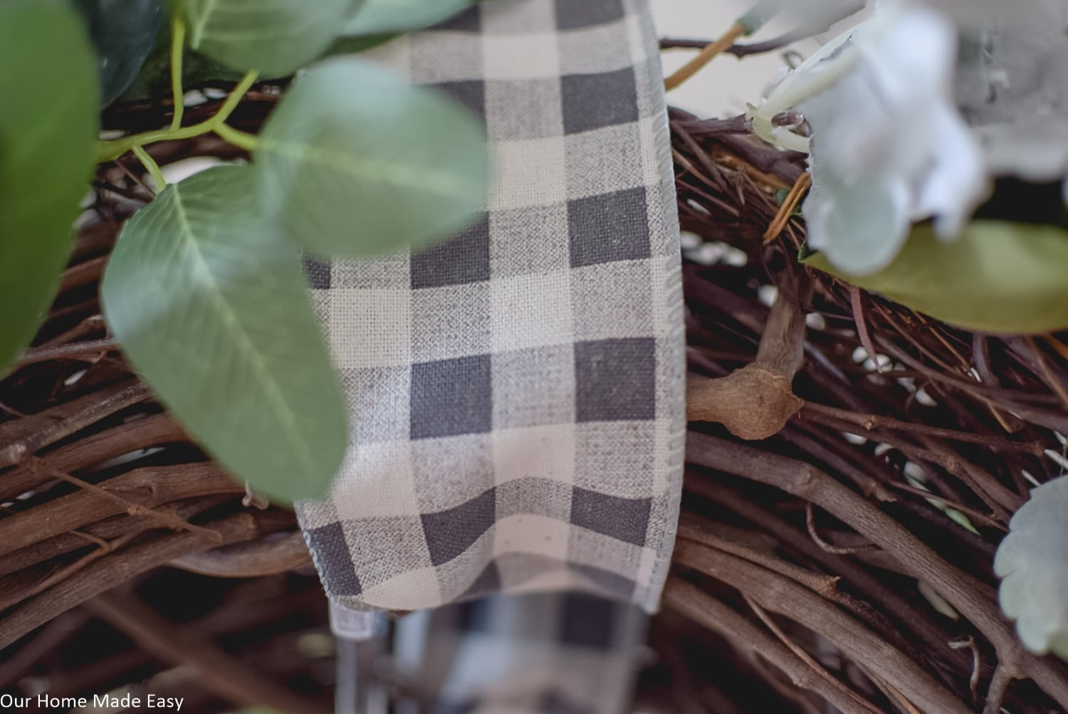 Plaid ribbon is a great way to add simple touches of fall home decor