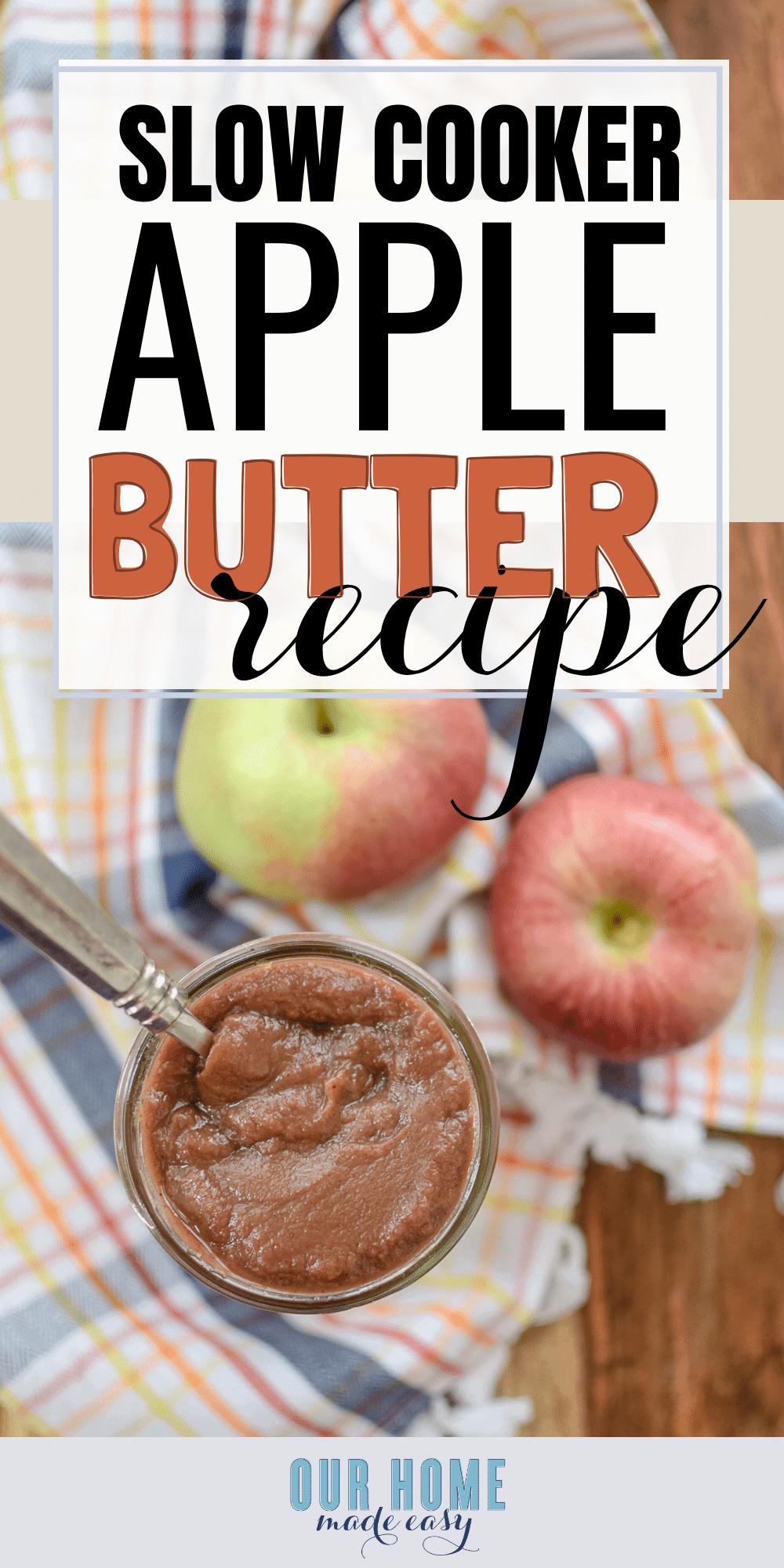 Make this easy crock pot apple butter with just a few ingredients! Use up any apples for this delicious apple butter recipe. Click for the recipe! #applebutter #fallrecipes #apple #breakfast #recipes #slowcooker