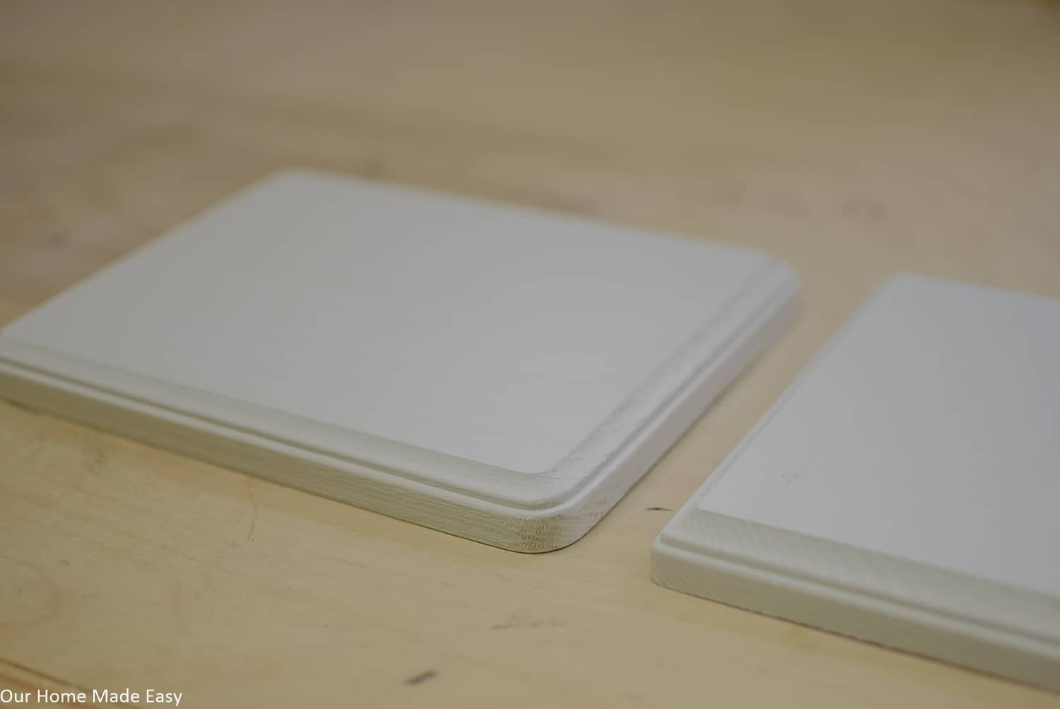 These plain white wood boards will be the base for your fabric pumpkins