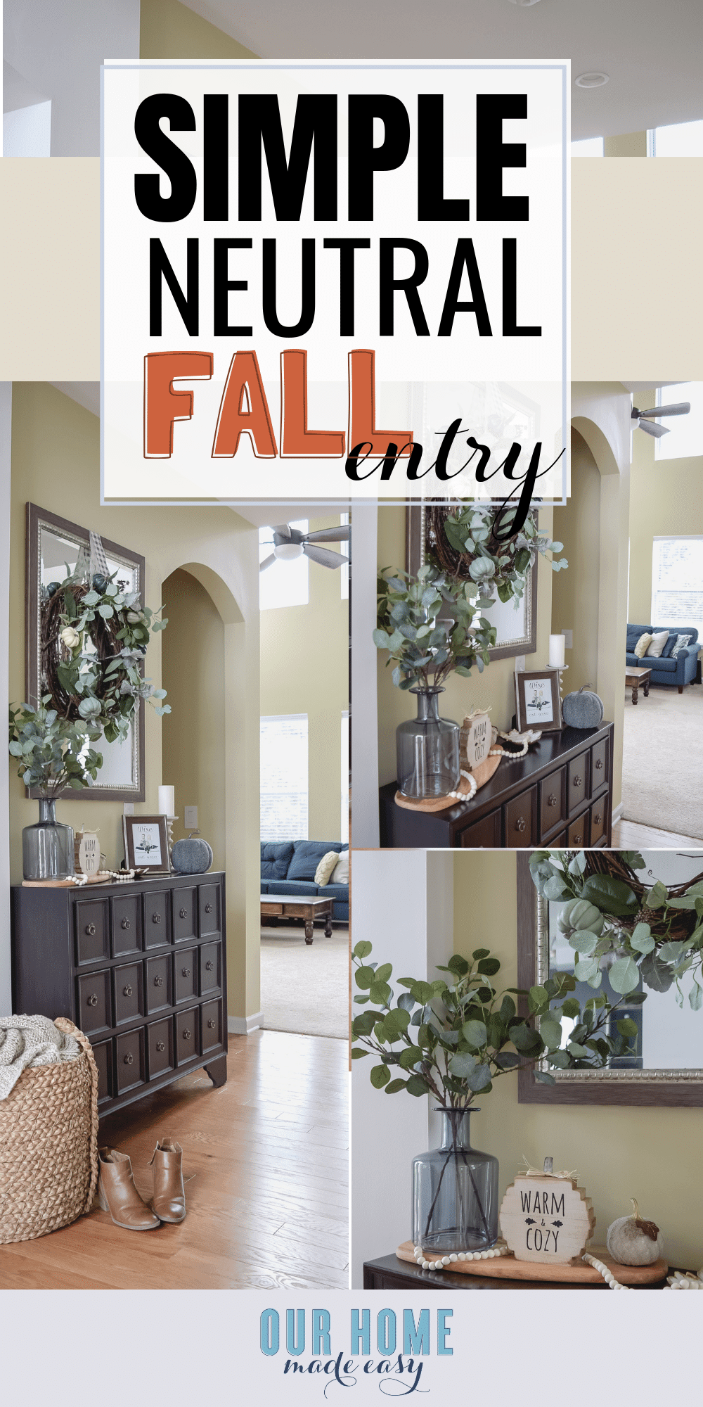 Use this quick tip to decorate your fall entryway home decor without using too many seasonal items! Save money & time. Click to see the entryway! #fall #home #fallhome #cozyhom