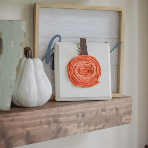 Fabric Pumpkins On Wood Board
