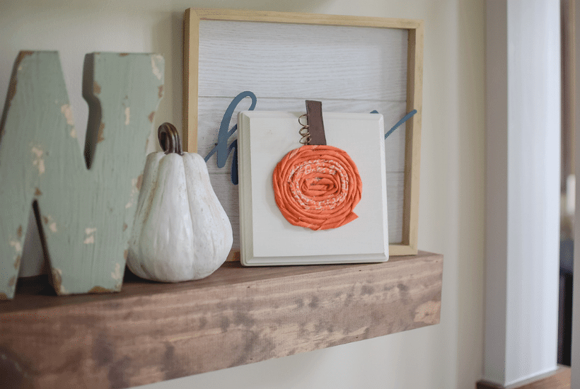 Fabric Pumpkins On Wood Board