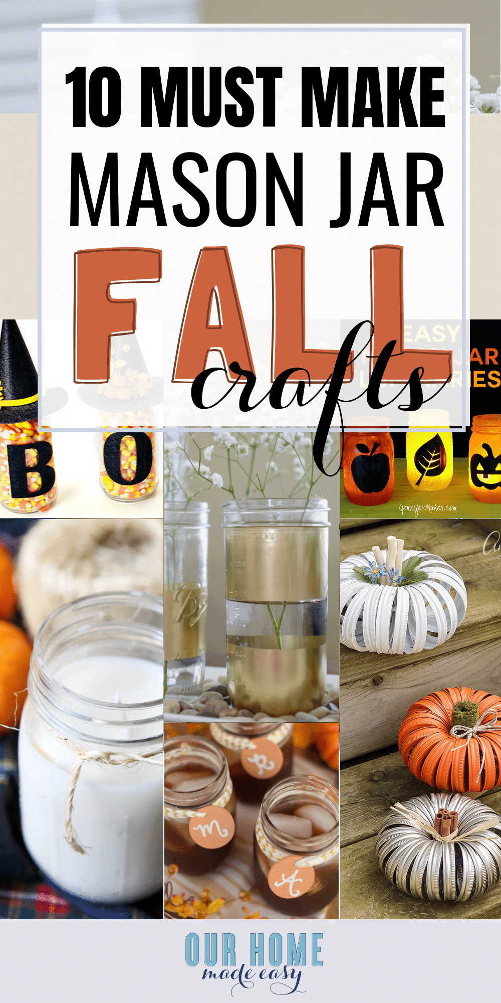 These 10 easy mason jar crafts are perfect for Fall! They will add cozy charm to your home and they won't take long for you to make yourself. #fallhome #homedecor #fall #masonjars