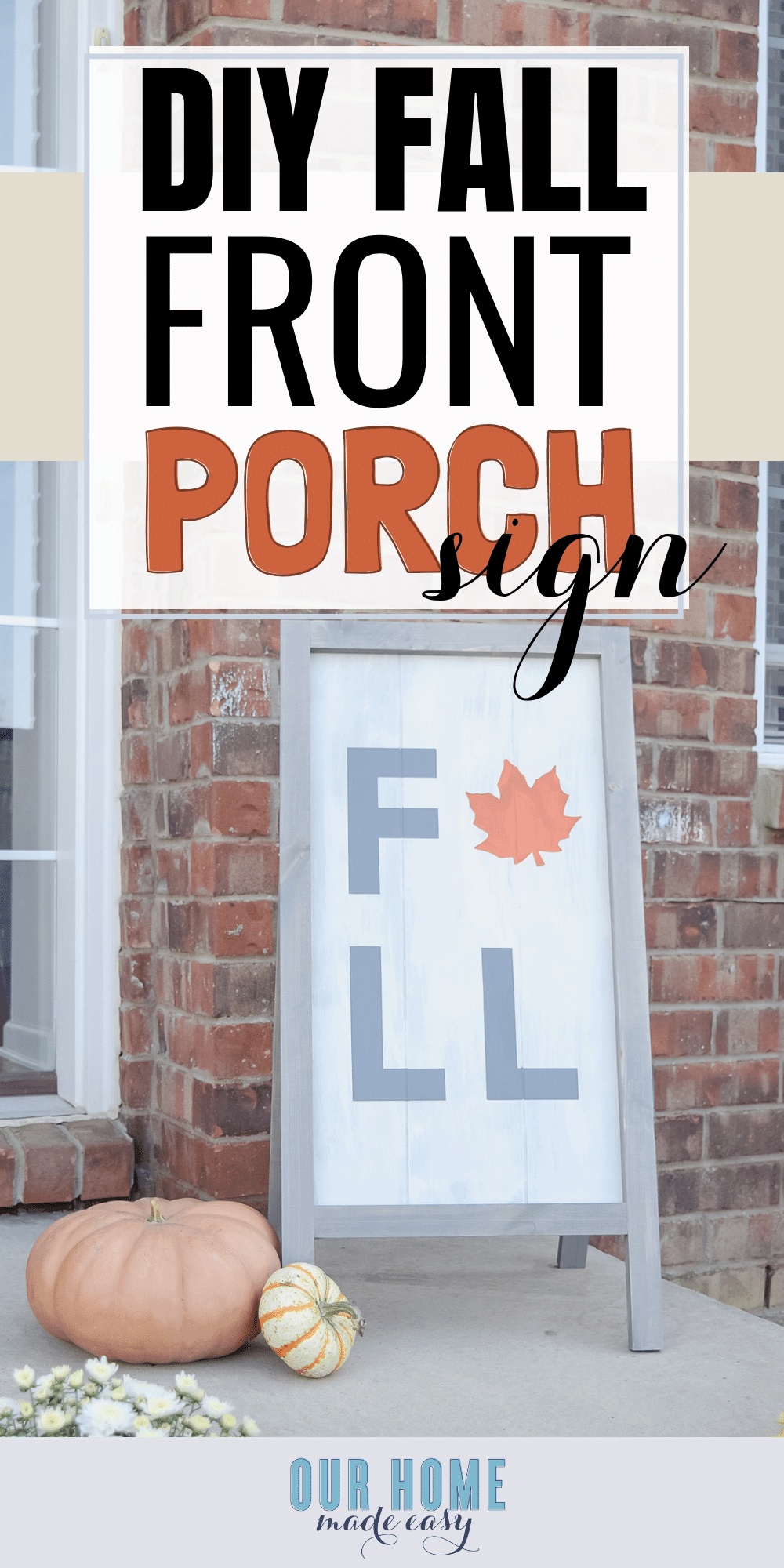 This DIY wooden fall sign is super easy to make! You can lean it against your wall or add support legs to stand it on it's own. Find the DIY sign tutorial here! #fall #homedecor #home #diy #farmhouse #sig