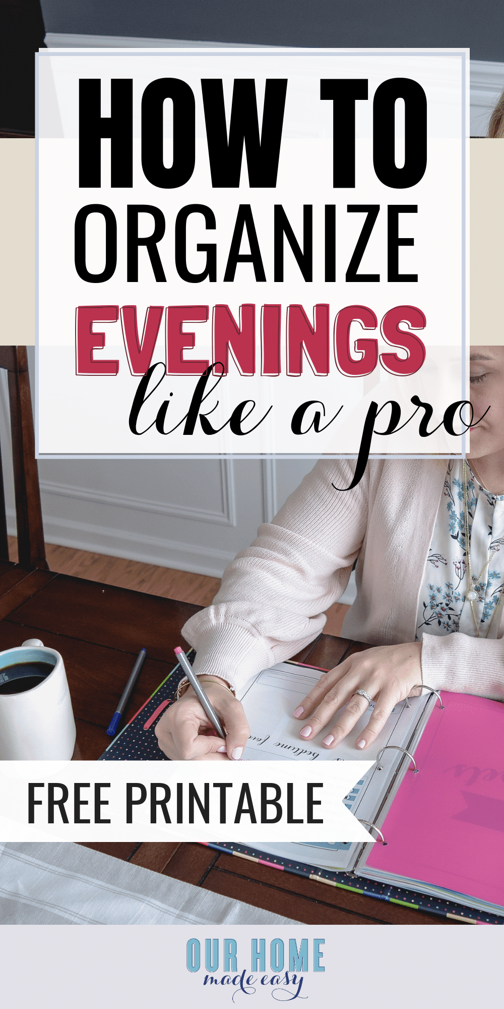 Get this after school planner free printable to help you overcome the evening chaos. Download the free printable and stop feeling so overwhelmed. #school #planner #organize #student
