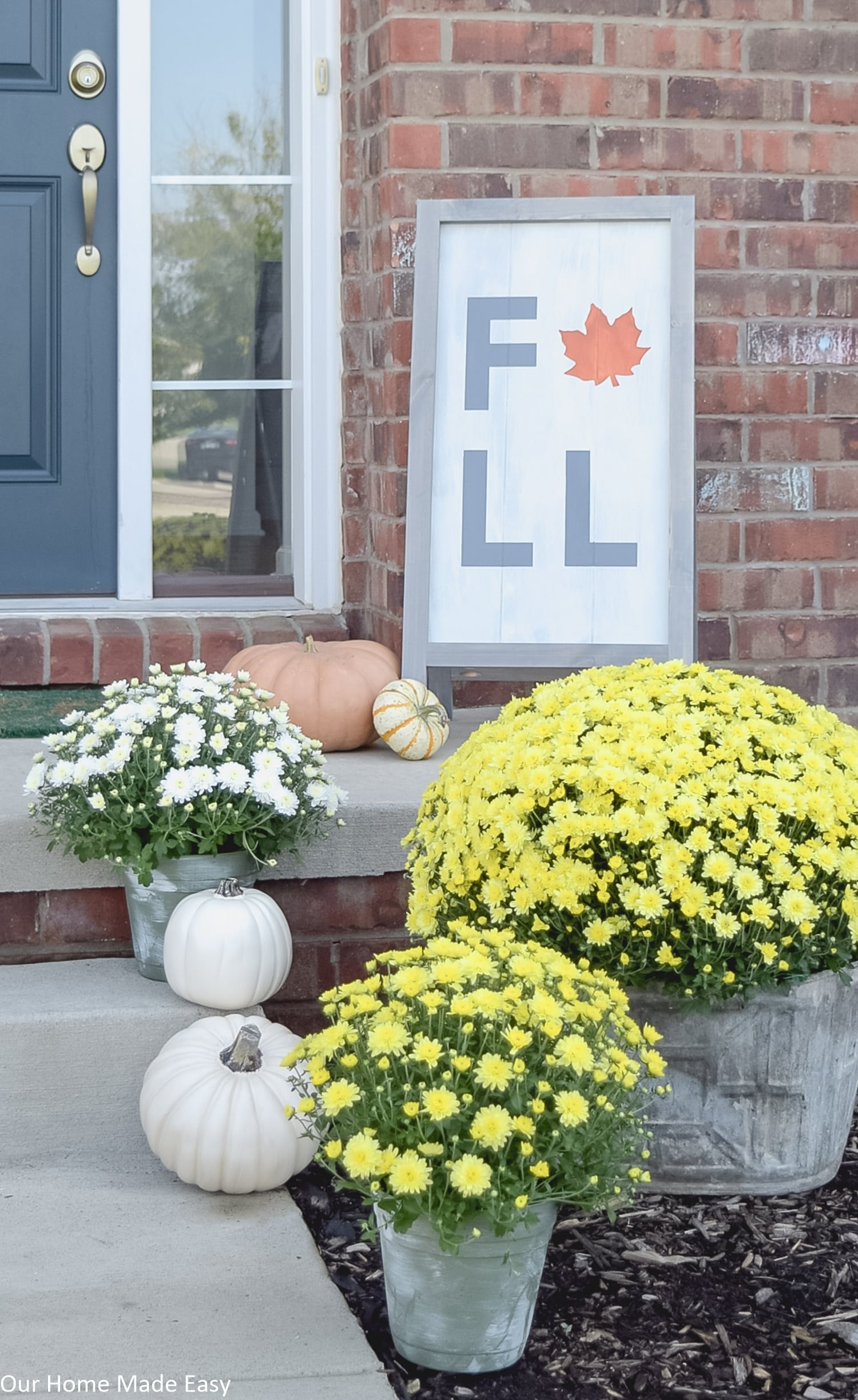 these fresh potted mums are bright and colorful, the perfect touch of fall for your front porch