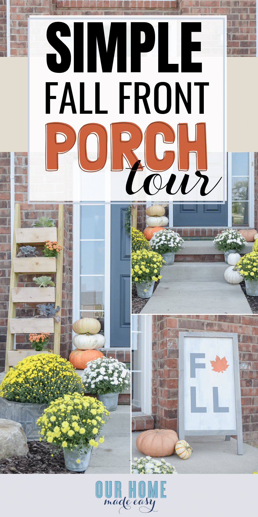 This simple fall front porch allows colorful mums to shine! Add in a few DIY projects and you have a front porch that is pretty and still in the budget. #fall #homedecor #diyhomedecor #diyprojects #landscape #pumpkin