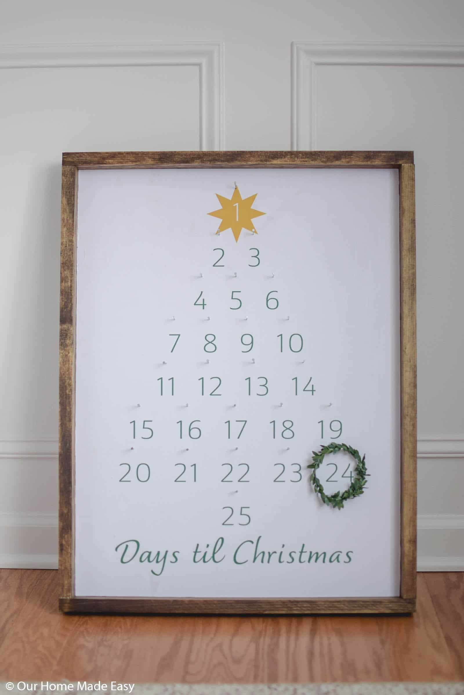 this simple DIY farmhouse advent calendar is a perfect accent piece to your holiday decor