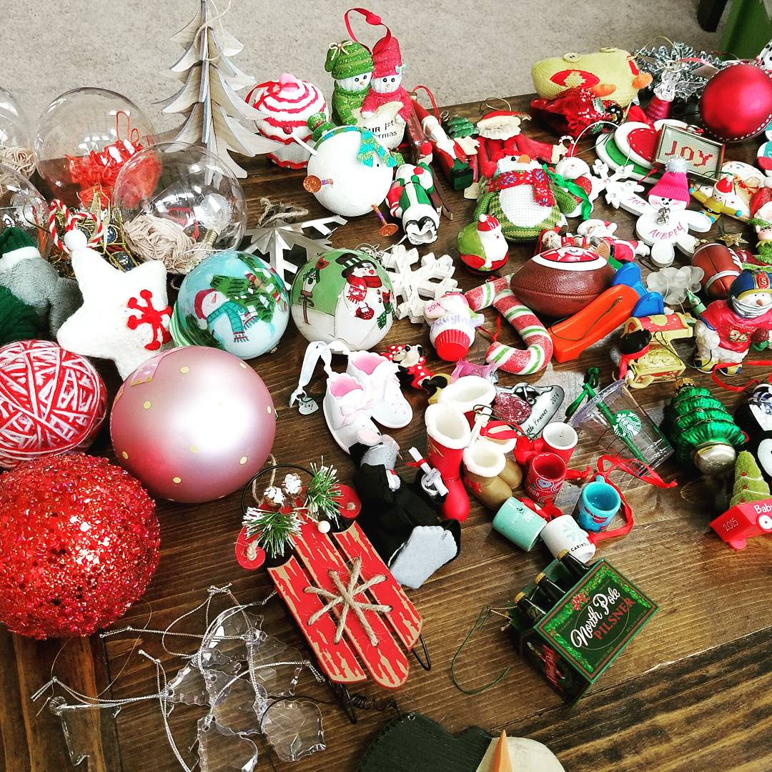 Assorted Christmas tree ornaments and Christmas decorations