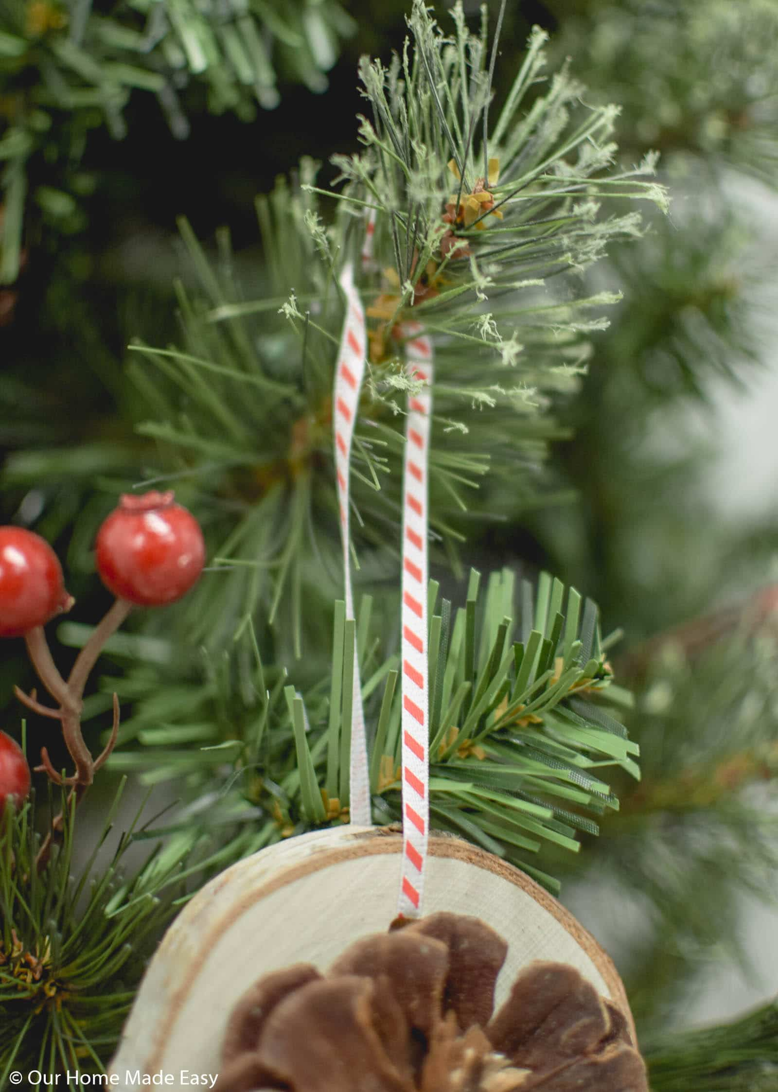 Hung with simple ribbon, these wood slice ornaments will fit in perfectly on your Christmas tree