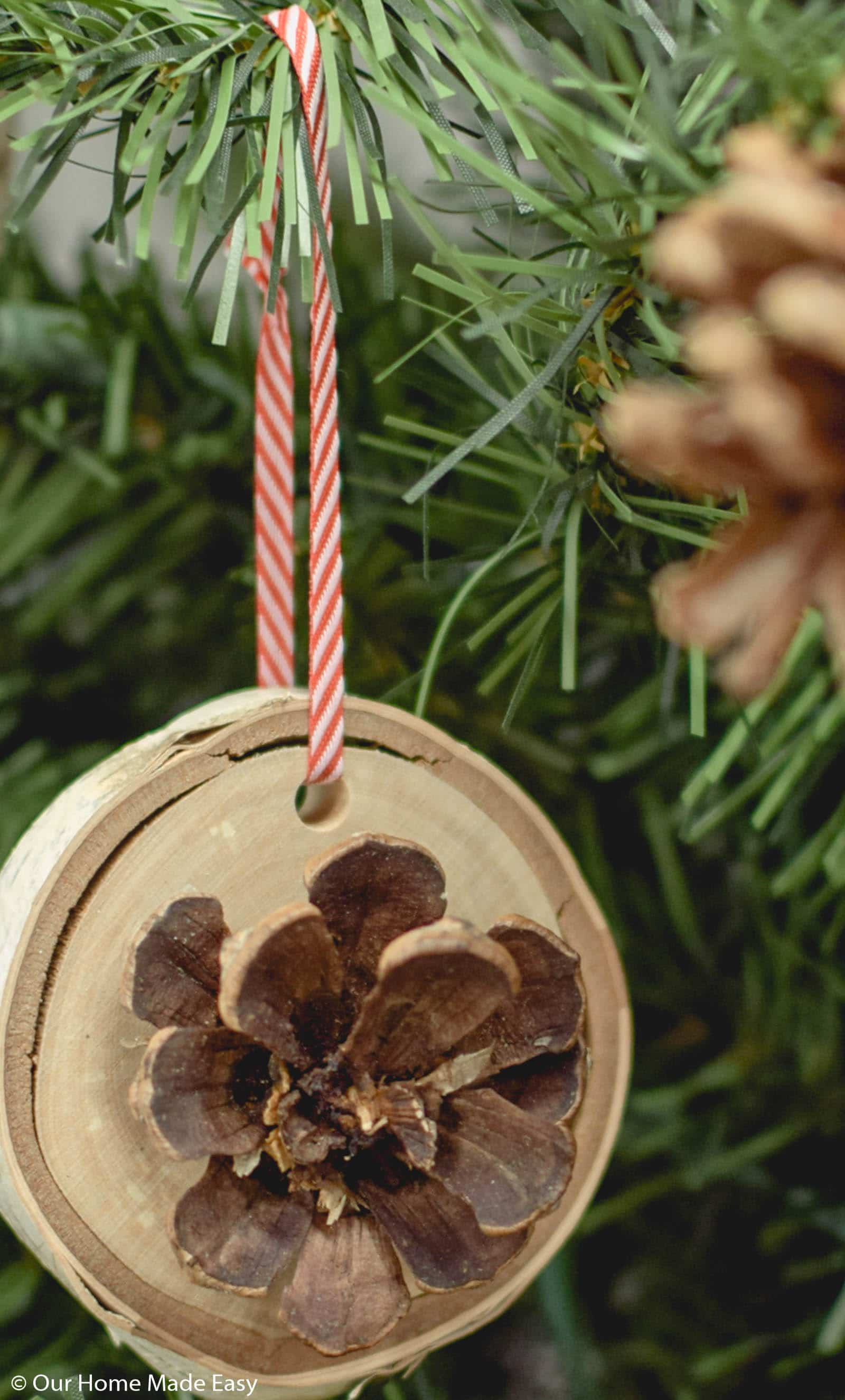 These wood slice ornaments are the perfect rustic touch to add to your Christmas tree