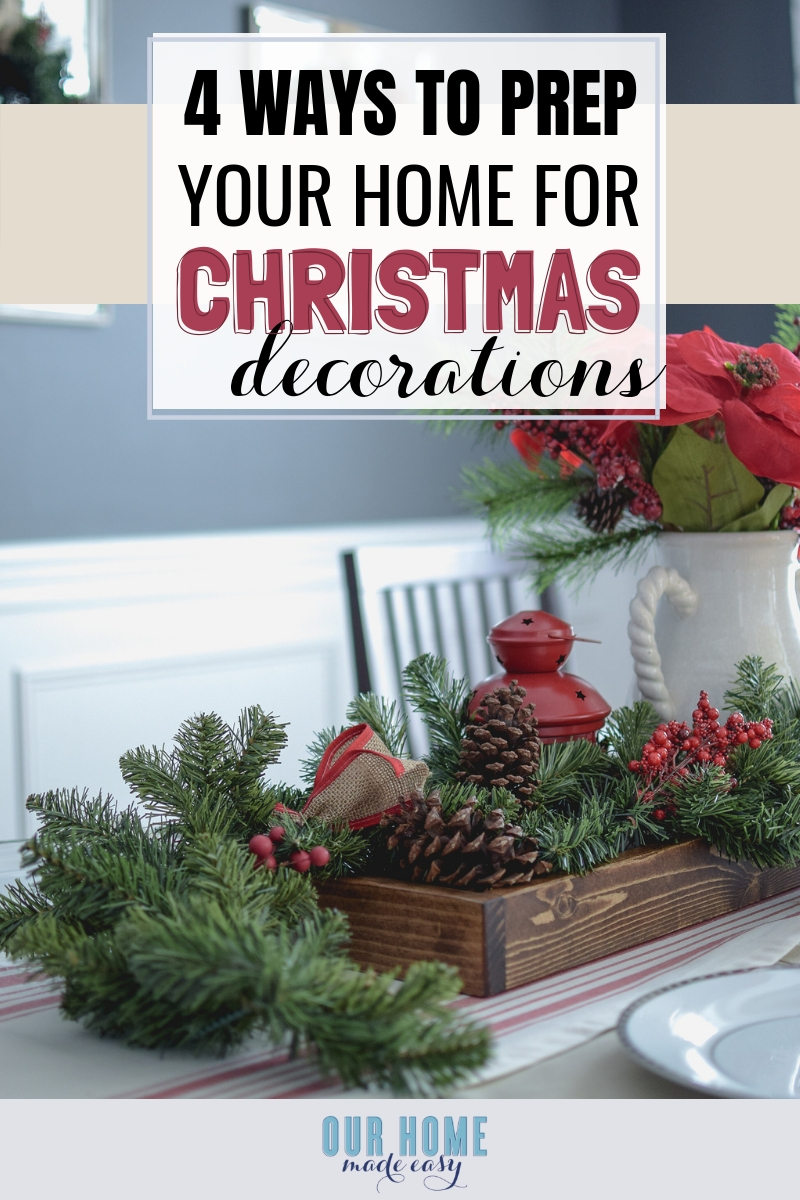 Are you ready to jump into decorating for Christmas? Before you start, prep for just a few extra minutes to make your entire decorating task a little bit easier to manage. These few tricks will help you look forward to the project-- not dreading it. Enjoy your decor and don't feel overwhelmed by allowing yourself to put away the decor is normally out all year.