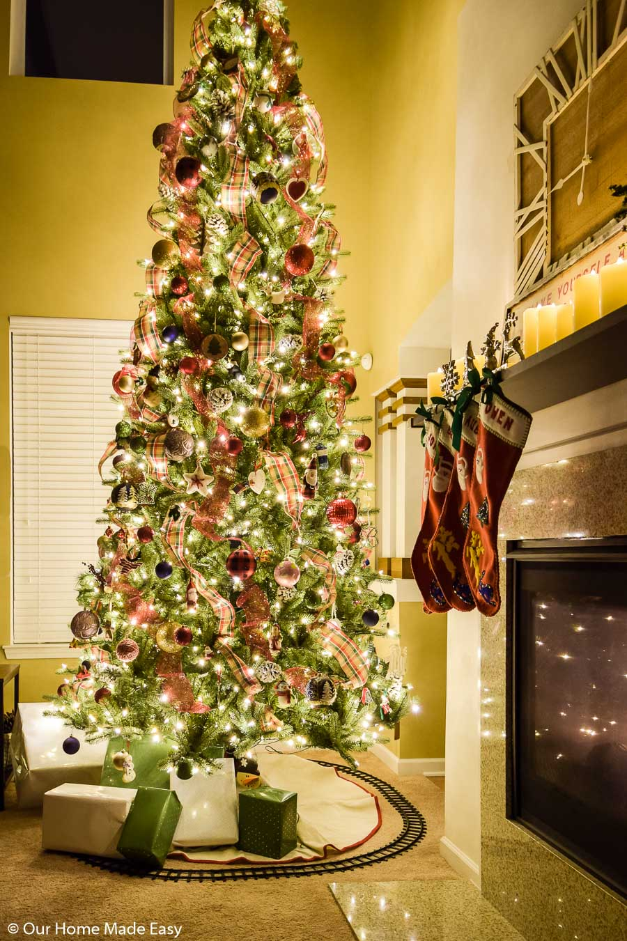 This bright Christmas tree lights up the living room in our home
