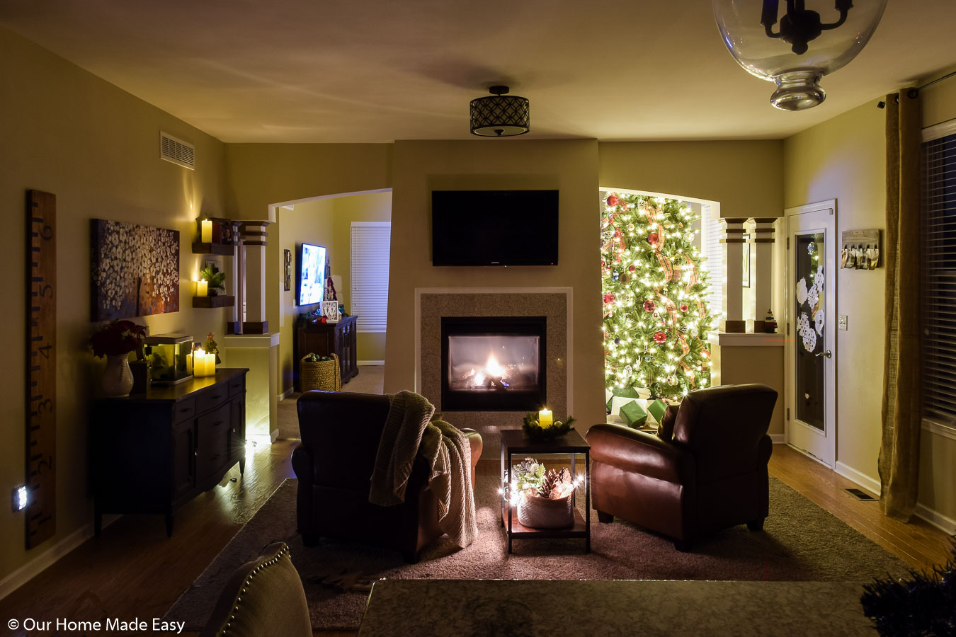 Our hearth room is the coziest room in the house, with comfortable reading chairs, blankets, and warm fireside light