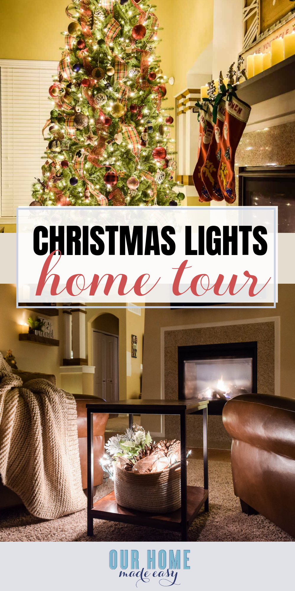 Join us for pretty night time holiday lights at Christmas time! Tour our home and fourteen other home bloggers who are opening up their homes! #christmas #christmastree #holidays #ourhomemadeeasy