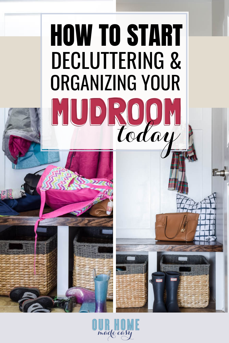 This is the DIY mudroom organization guide for small spaces. These storage ideas will help keep you organized, no matter the size of your mudroom! #homedecor #organization #ourhomemadeeasy