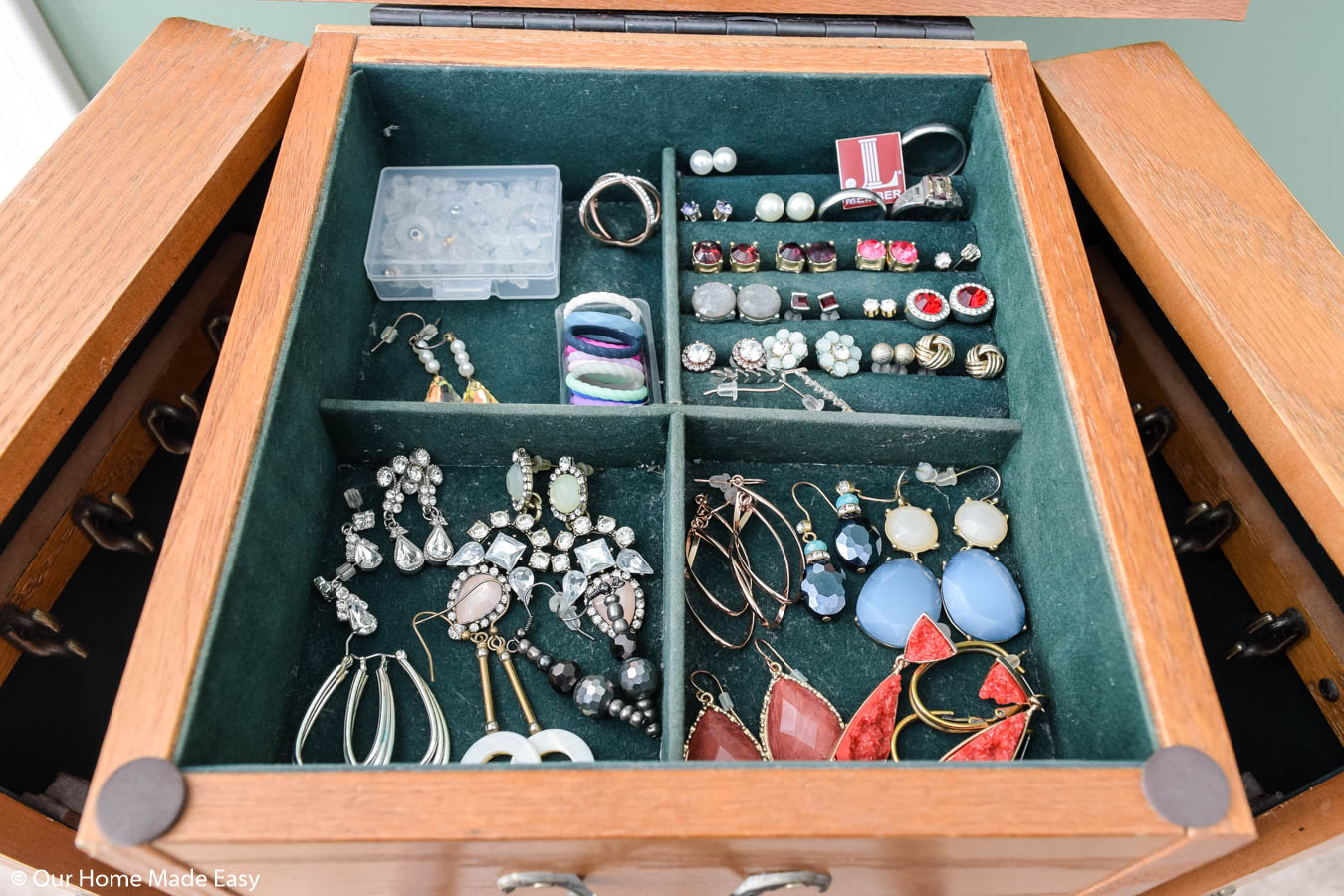 I pared down on my earrings and only kept the earrings and rings that I wore often