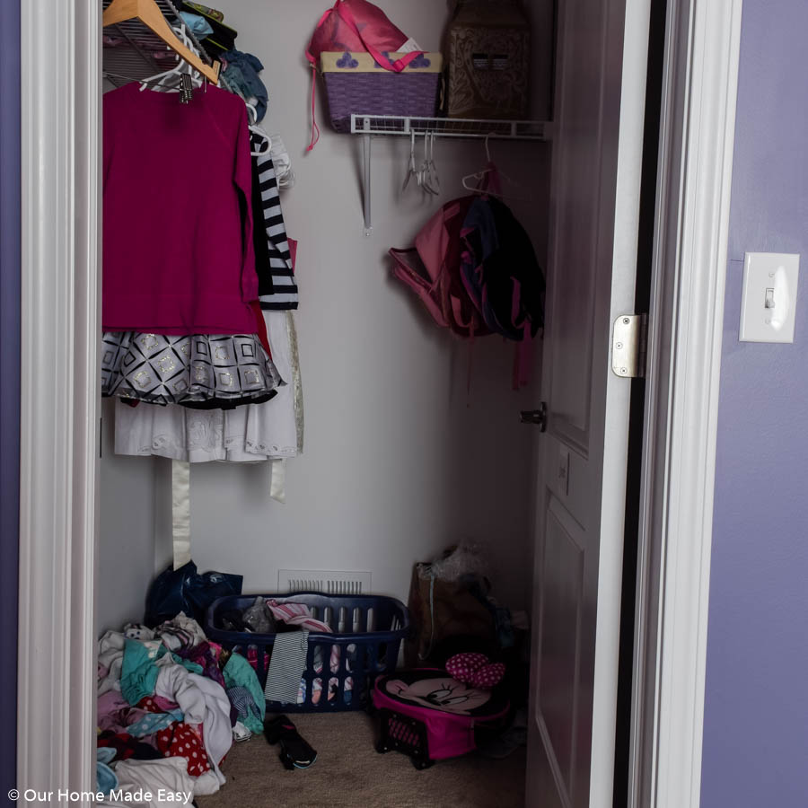With little storage, our small walk-in closer was a disaster that needed some serious organization