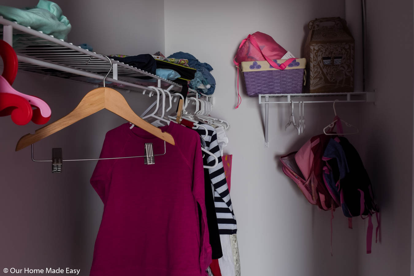 Our small walk-in closet had minimal storage and not enough space to really organize well