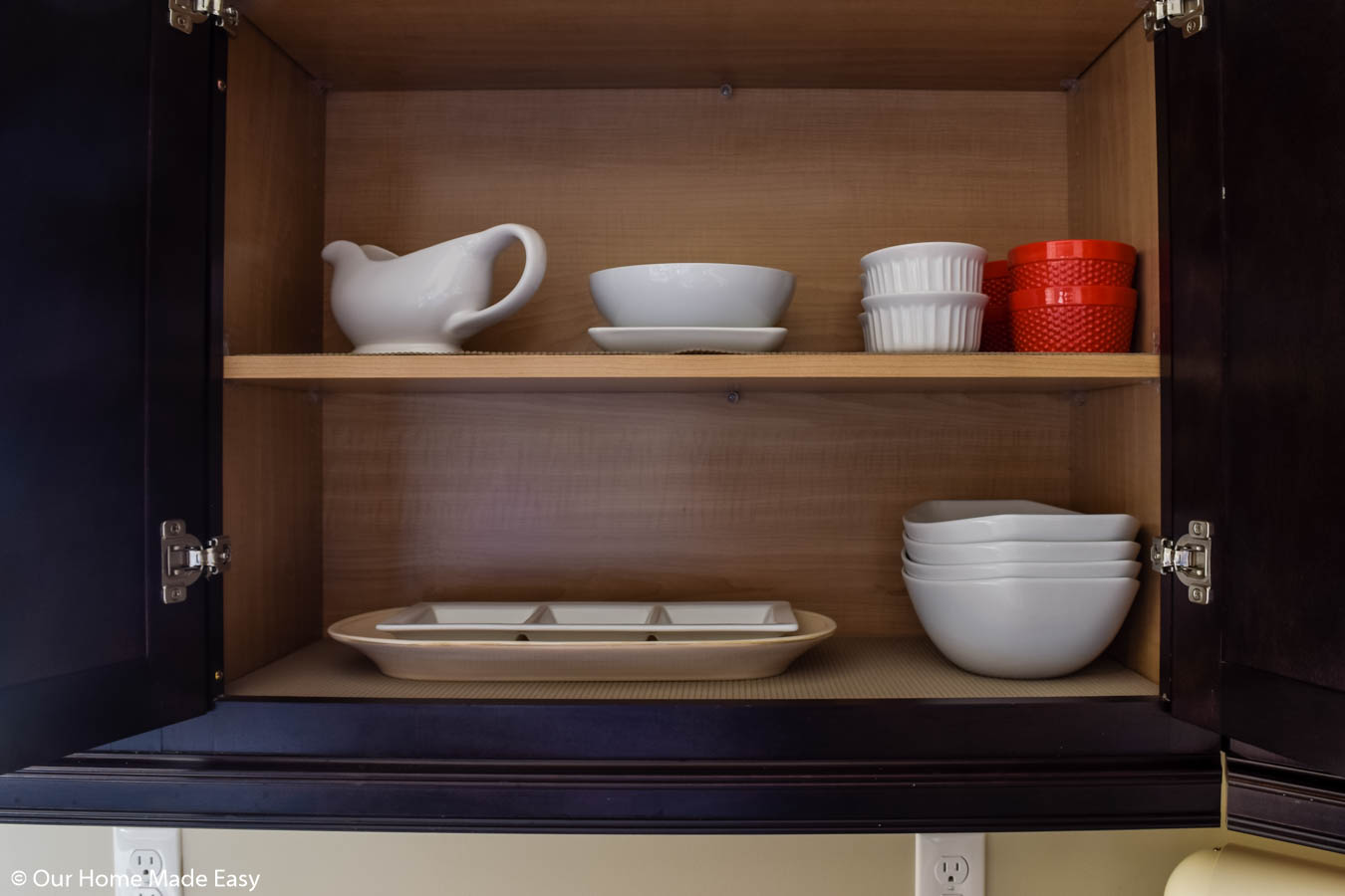 we moved the servingware closer to where we prepare food so we'd use it more often