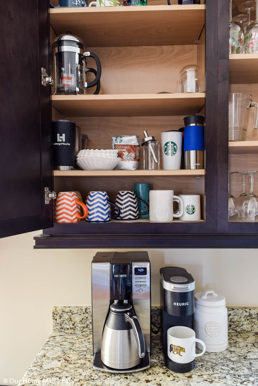 our coffee mug and coffee cabinet is conveniently located right above our coffee makers