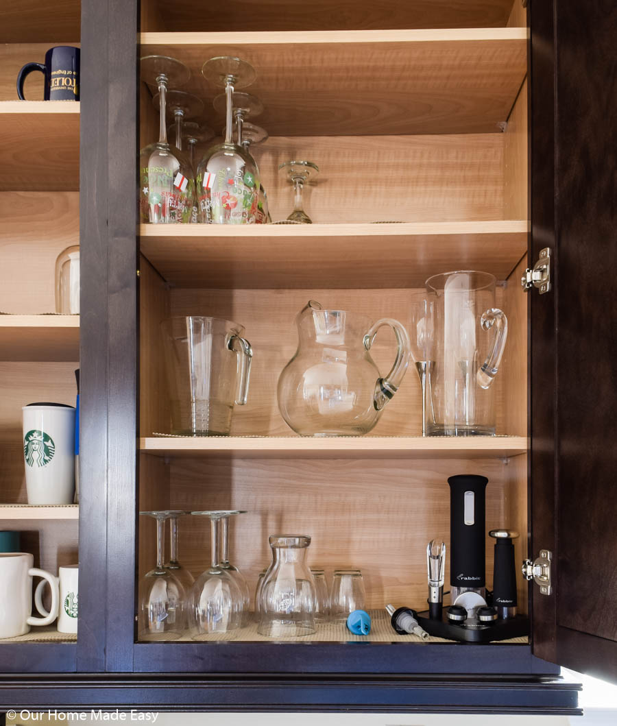 special glasses like pitchers and wine glasses should get their own cabinet