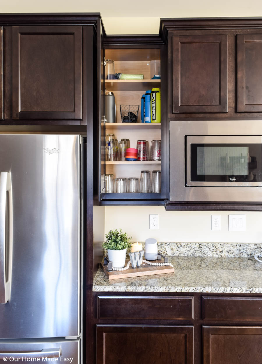 Keeping your kitchen organized is key in keeping an on-track morning routine for school days