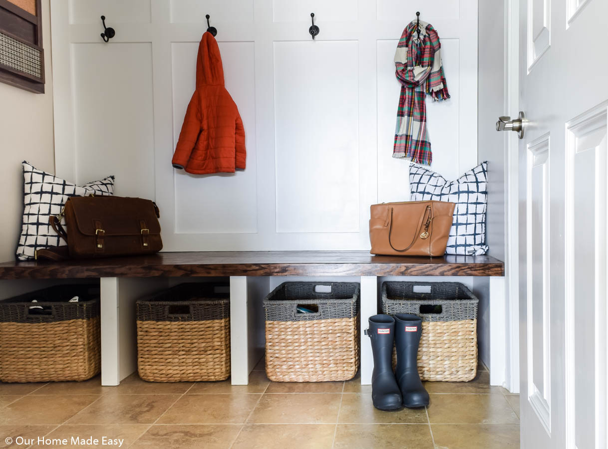 It just takes a few simple steps to keep a small space like the mudroom organized