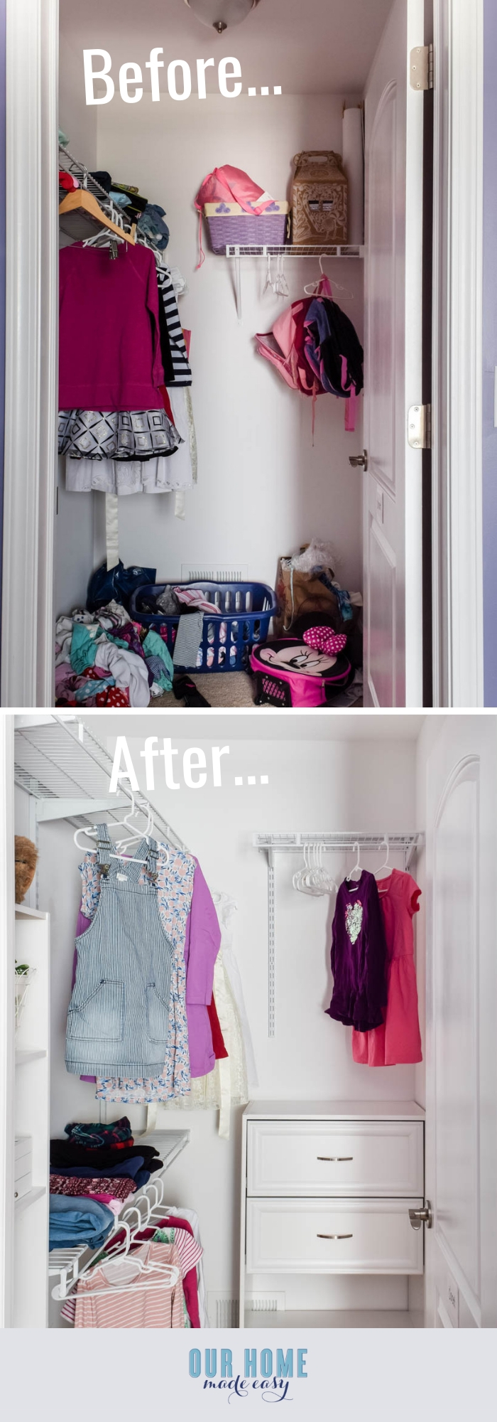 DIY small bedroom closet organization for a small budget! Makeover your closet in just one day save money compared to professional closet companies! #organization #bedroom #closet #ourhomemadeeasy