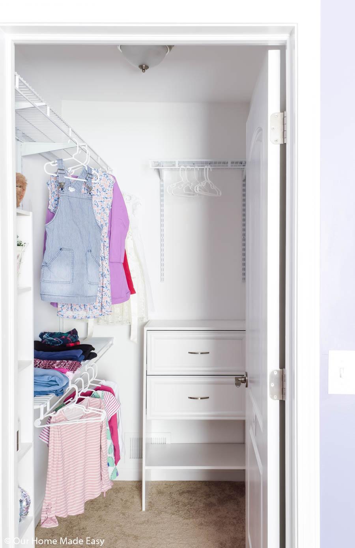The key to small closet organization is plenty of storage