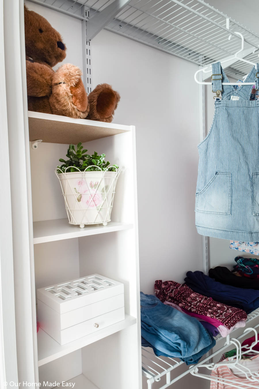 This stacked cube storage unit is perfect for small closet organization!