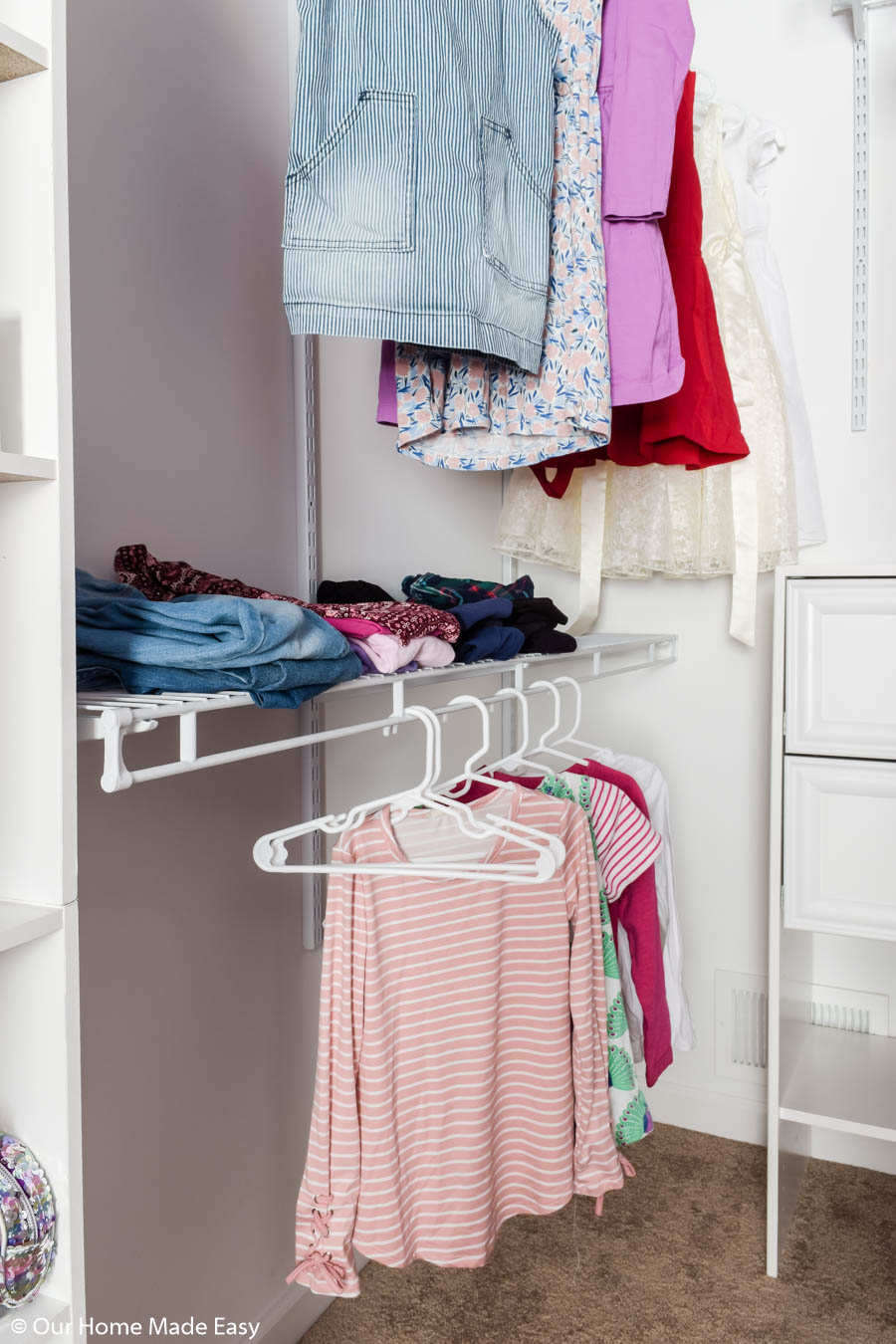 This adjustable shelving is a great option for closets, as you can more and adjust it as needed