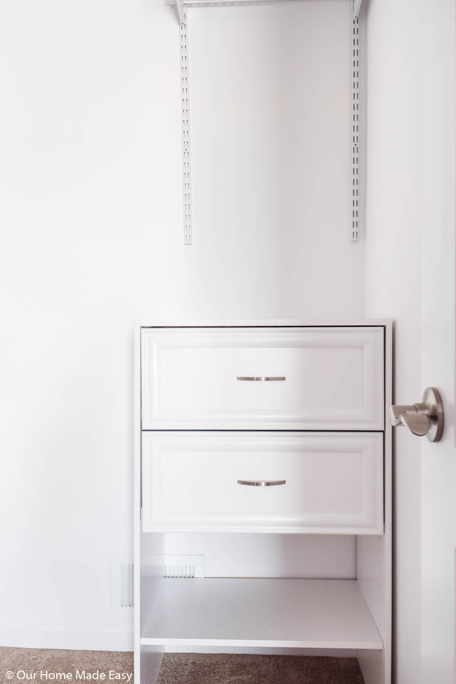 This new 2 drawer dresser add the perfect amount of storage in our daughter's bedroom closet