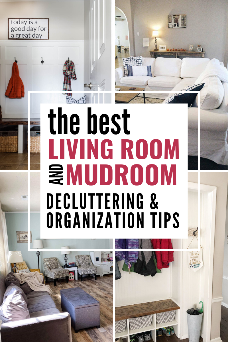 Easy & simple living room & rum organization ideas! Simple delcuttering tips for making your home organized! #homedeocr #organized #ourhomemadeeasy