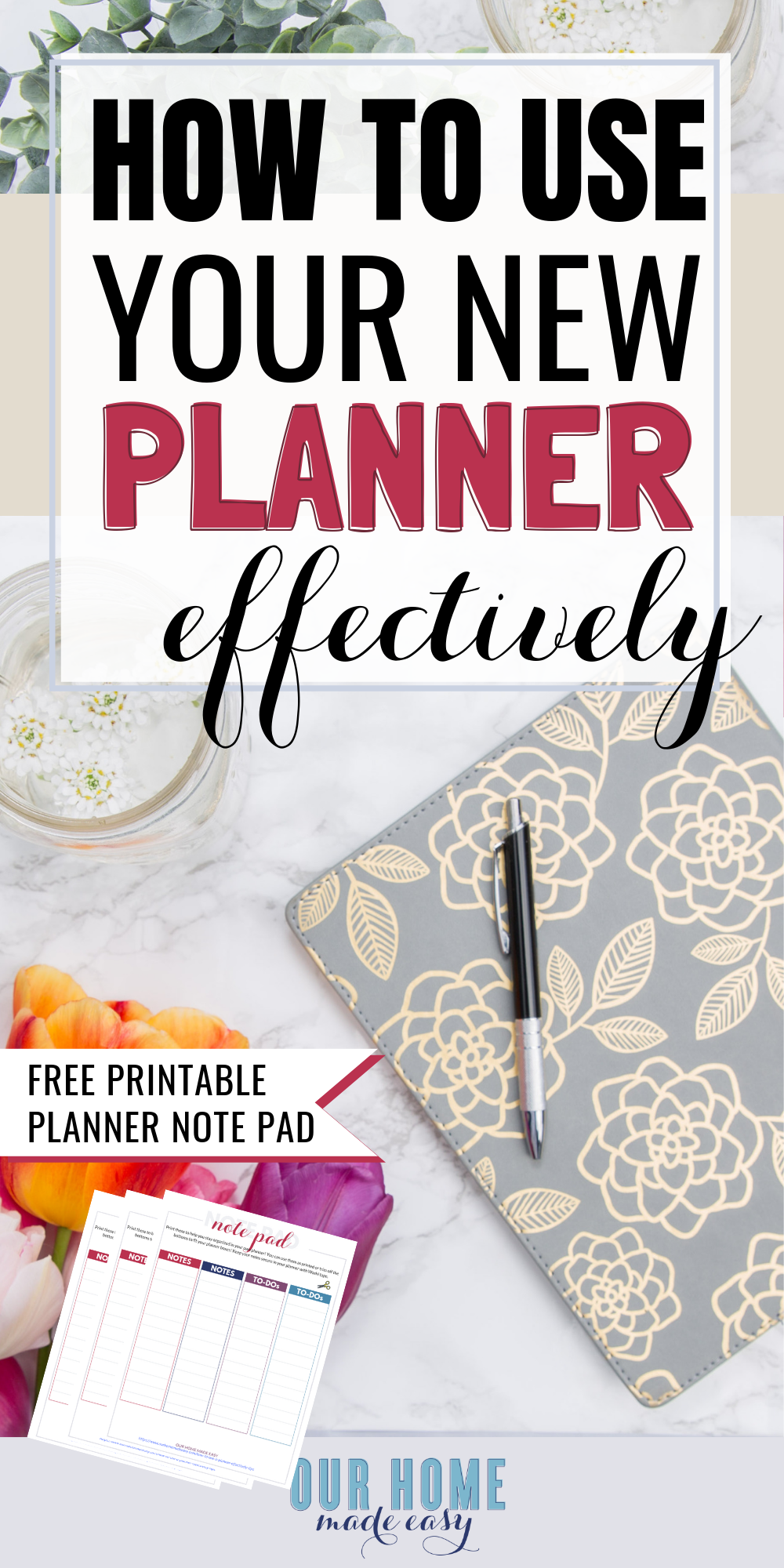 Here is how to use a planner effectively with 8 easy tips! You will stay organized all year long with your planner! Stop buying planners that you won't use! #organization #planner #home #ourhomemadeeasy