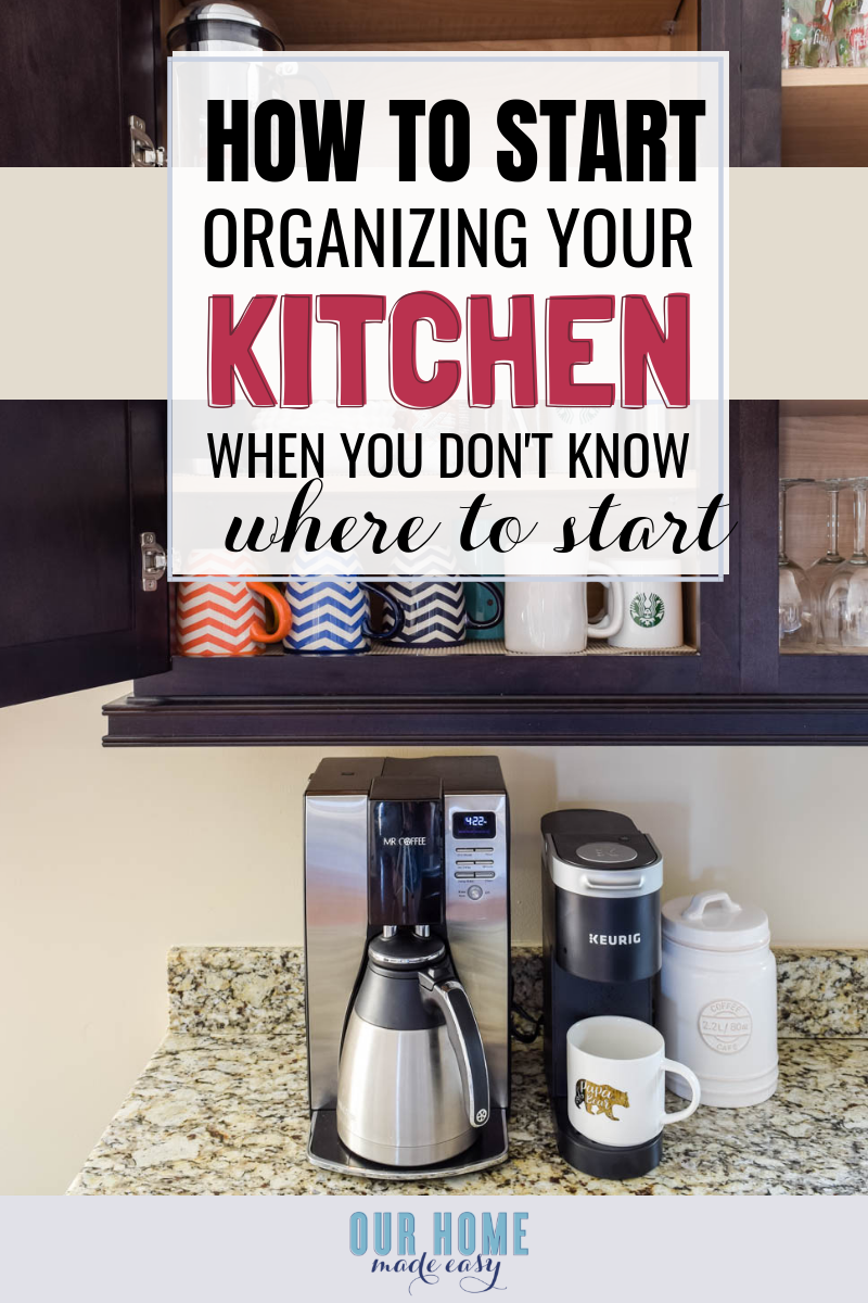My favorite trick for decluttering cabinets & kitchen organization! It costs nothing and is the best way just to start organizing when you feel overwhelmed! #homedecor #kitchen #ourhomemadeeasy #organization