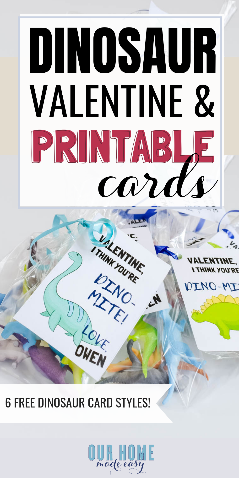 DIY Dinosaur Valentines Cards with this free printable! Download it and make your own fun valentines for school for kids! #valentinesday #valentinesdayschool #valentinesdaycard #ourhomemadeeasy
