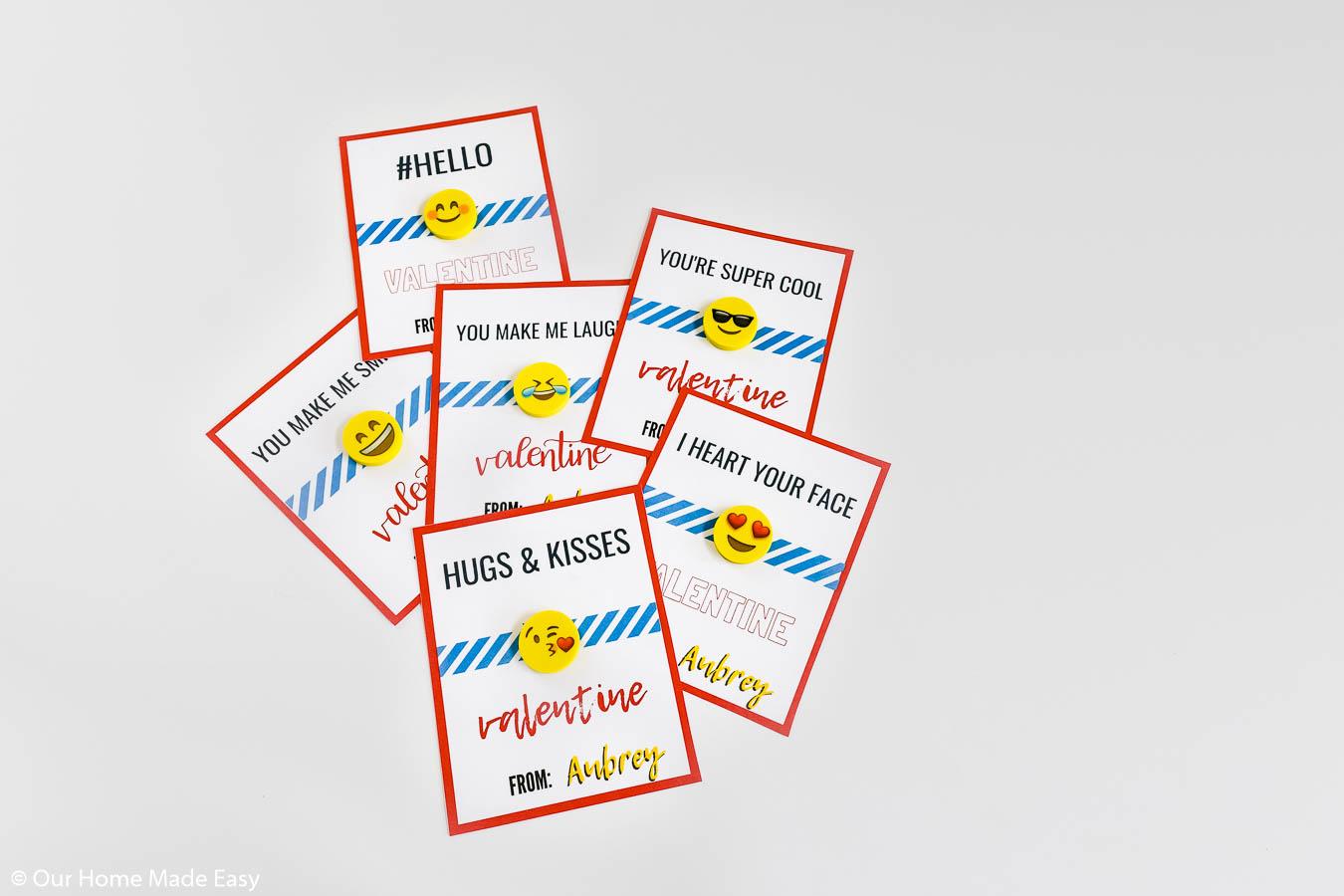 Free printable emoji valentine's day cards with mini emoji erasers