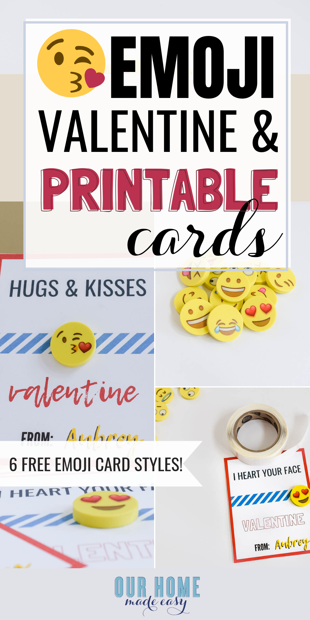 Make these fun free printable emoji valentines cards in just a few minutes! They are great non candy Valentine's Day treats to pass out! #valentinesday #valentine #emoji #ourhomemadeeasy