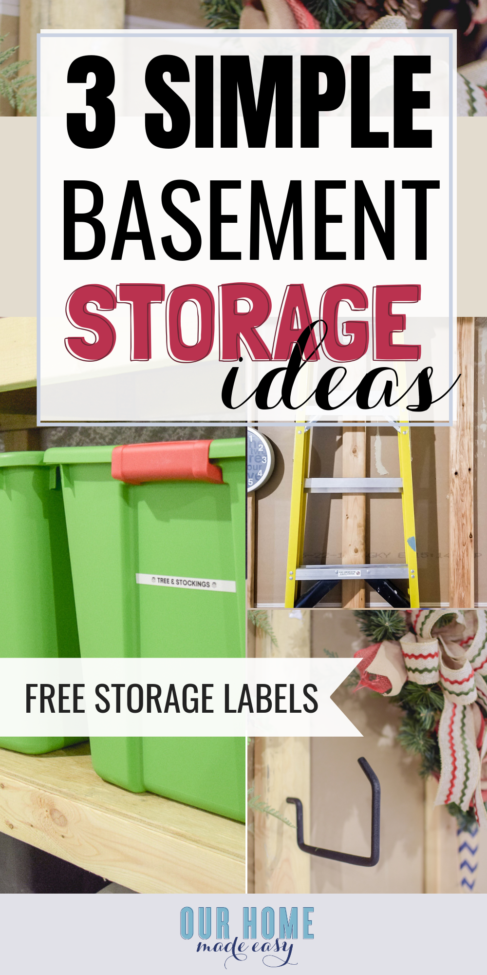These basement storage organizing ideas will help you get started on gathering your items and making sense of the stuff downstairs.   #organization #organizing #ourhomemadeeasy