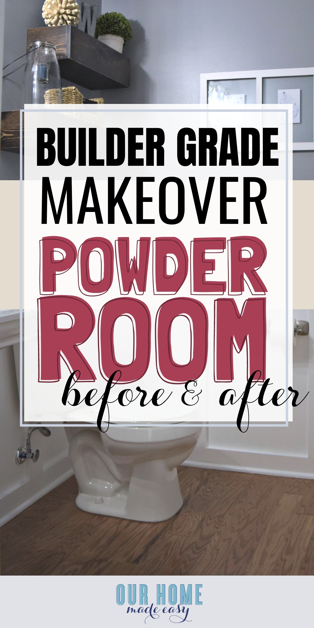 Here is an easy DIY budget powder room makeover! We used easy projects to go from builder grade to modern. Click to see how we did it! #bathroom #homedecor #oneroomchallenge #orc #ourhomemadeeasy