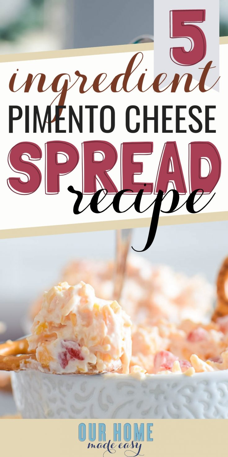 This tasty pimento cheese dip will wow your guests! Make it ahead of time and serve it cold with pretzels!