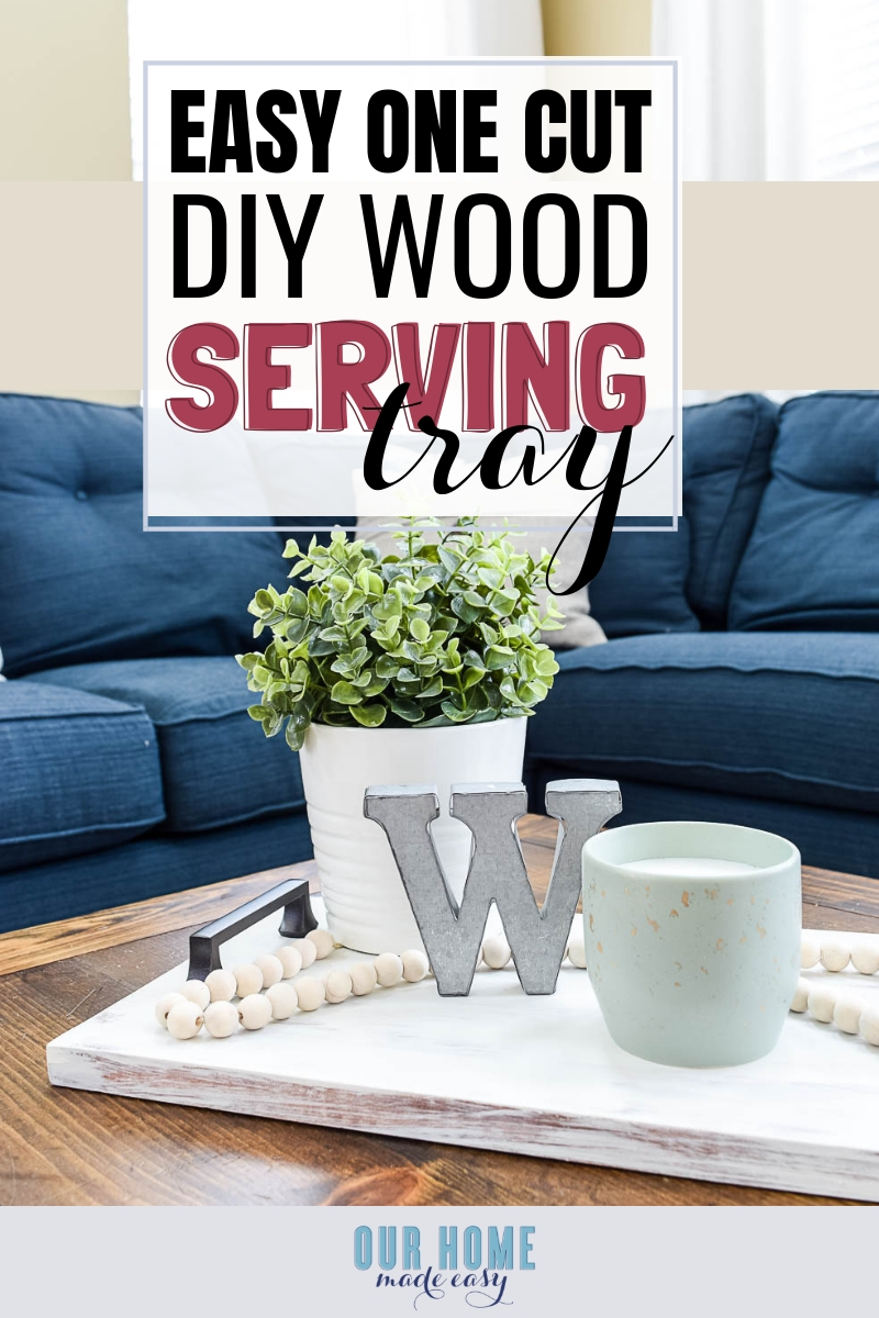 Make this DIY wooden serving tray quickly! It makes for pretty decor or even an inexpensive gift! Click to read the serving tray tutorial!