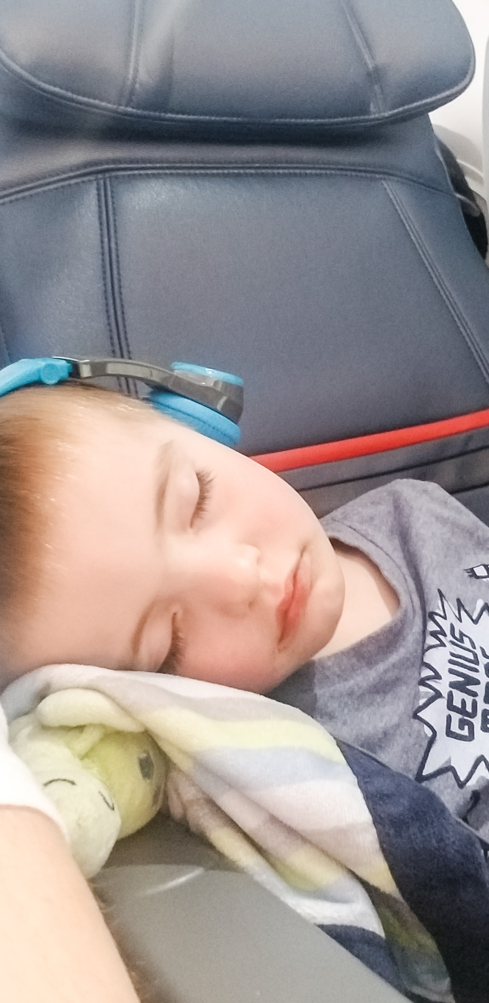 Our little man passed out on the long flight to Phoenix, Arizona