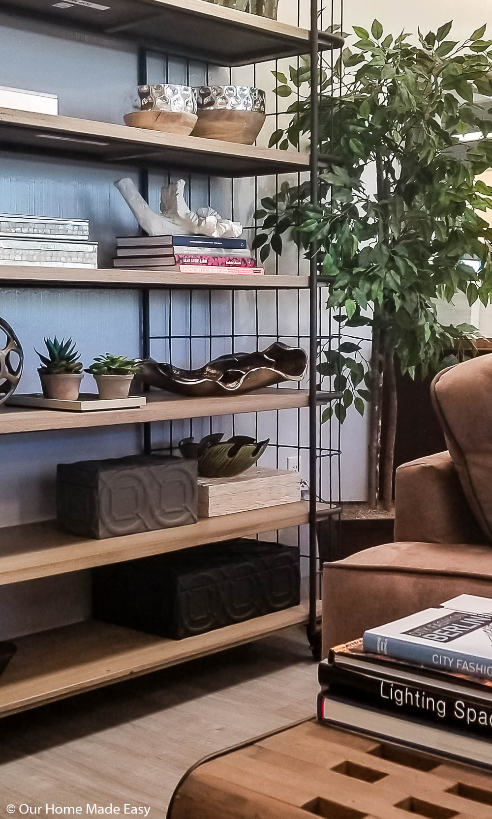 A bookshelf with some sentimental items can make a temporary house feel more like home