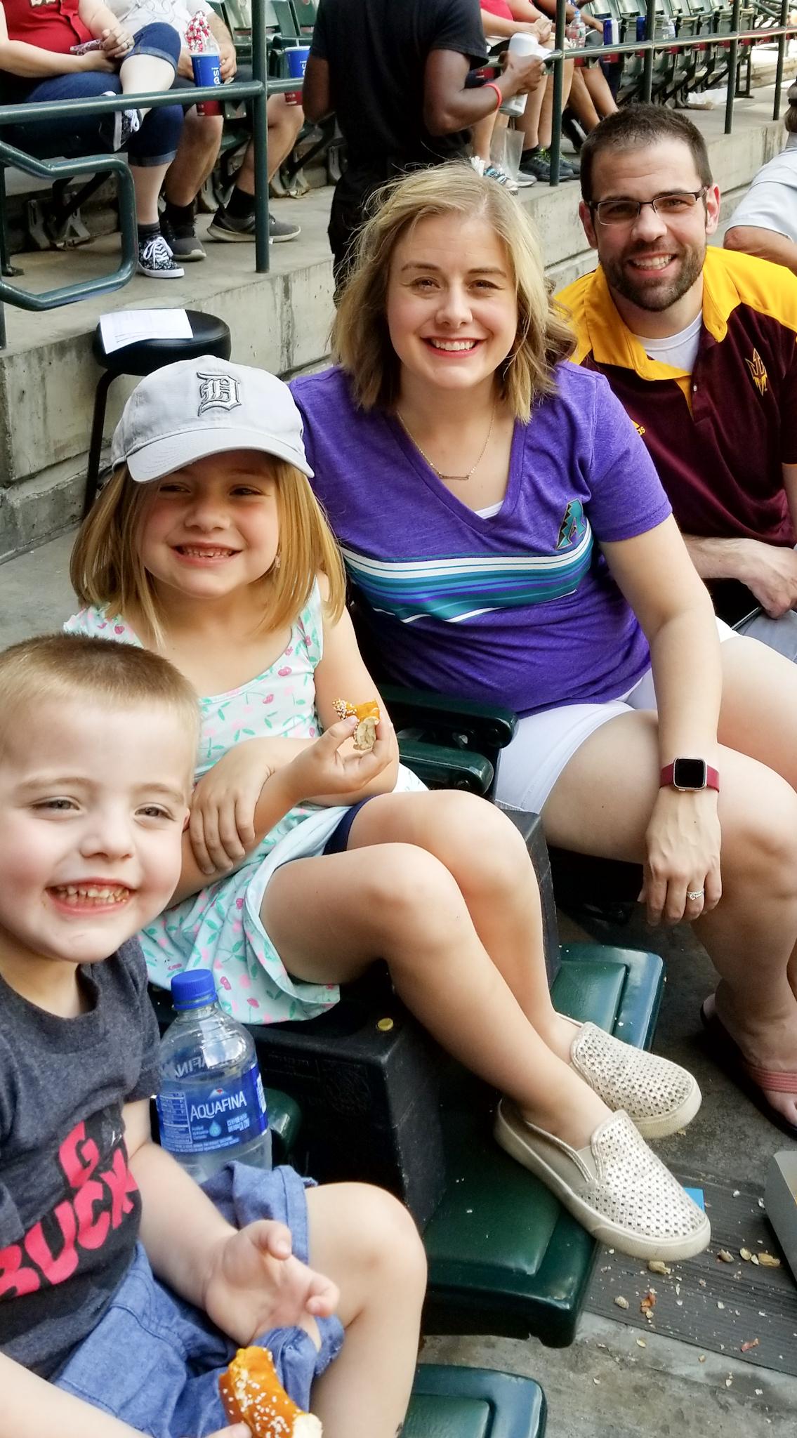 The Wise family enjoying an Arizona Diamondback's game in their temporary new home city of Phoenix