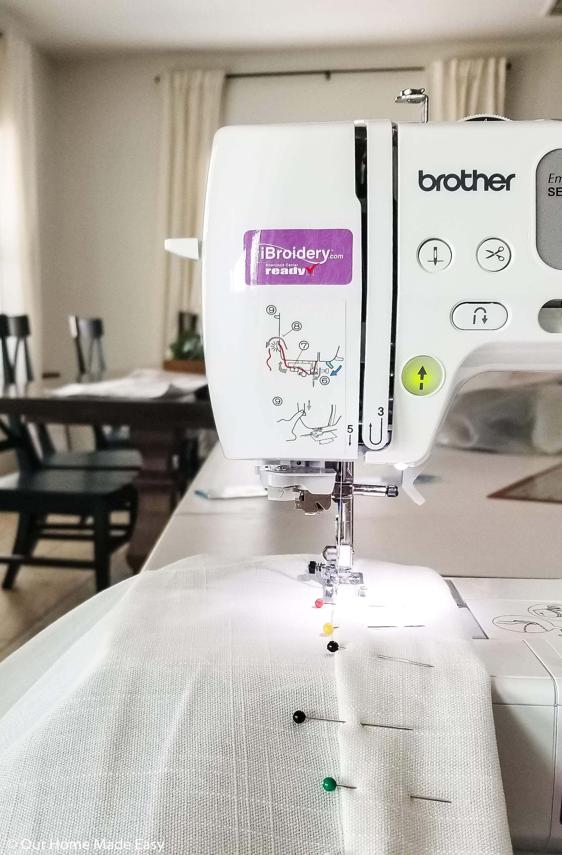 Hem all of your curtain panels using your sewing machine or no-sew hemming tape
