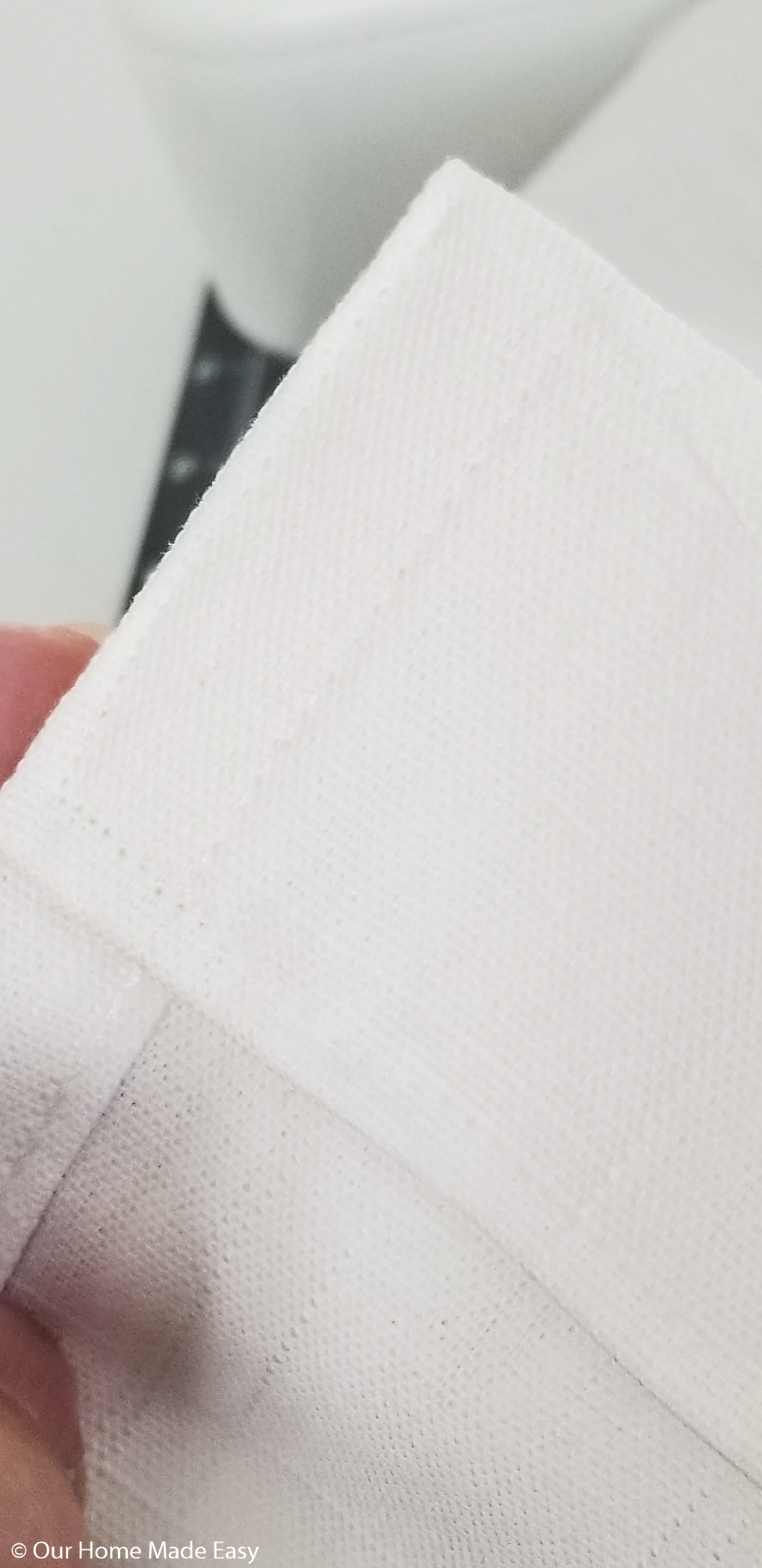 Now all you have to do is create a simple straight line hem on your DIY curtains