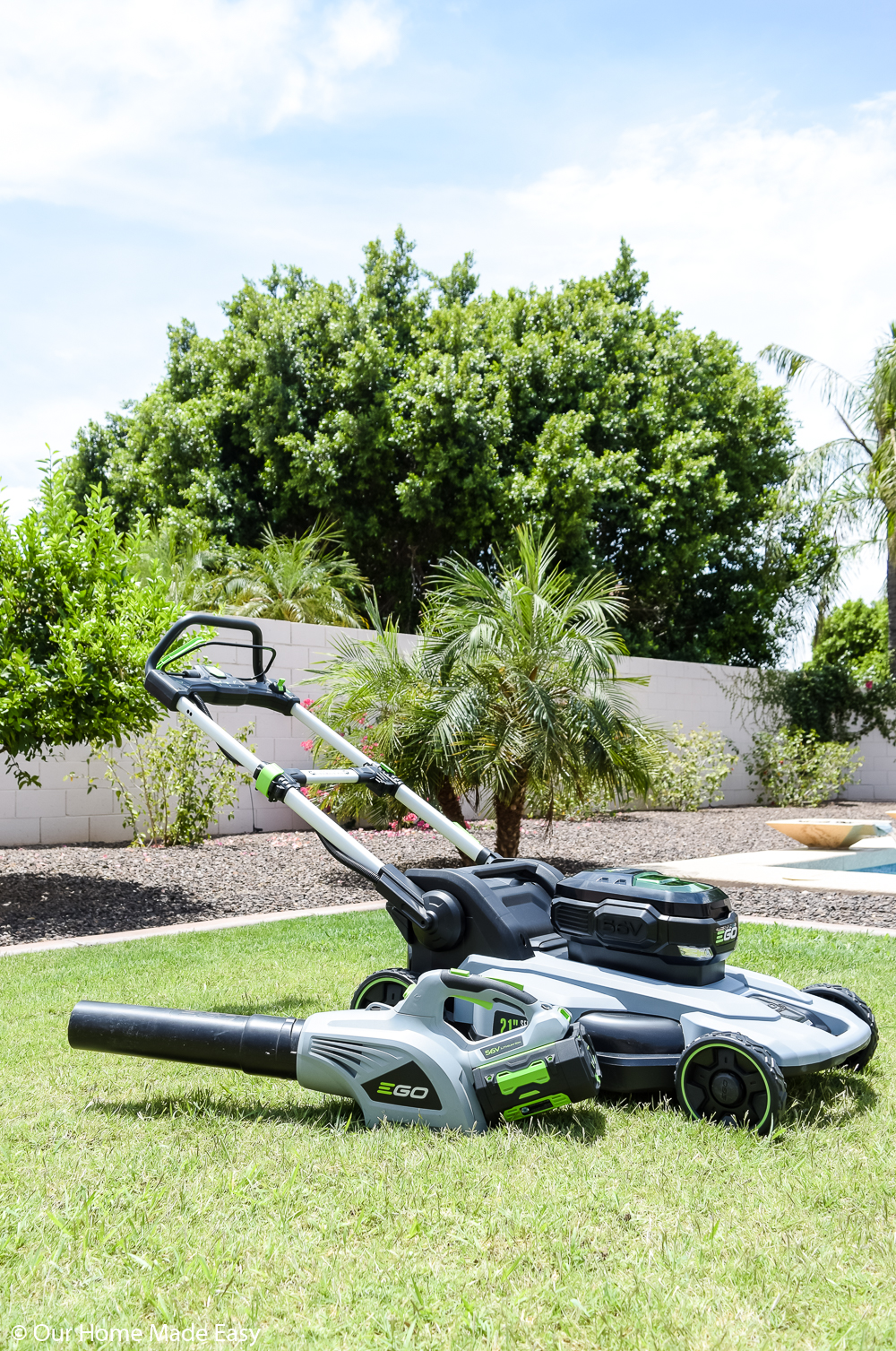 The battery powered EGO lawnmower is an efficient lawn maintenance tool